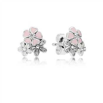 Pandora Poetic Blooms Stud Earrings, Mixed Enamels & Clear CZ 290686ENMX
