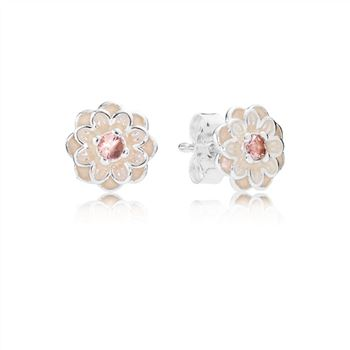 Pandora Blooming Dahlia Stud Earrings, Cream Enamel & Blush Pink Crystals 290687NBP