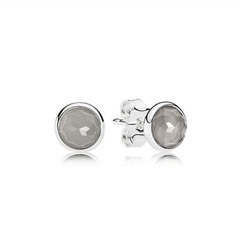 Pandora June Droplets Stud Earrings, Grey Moonstone 290738MSG