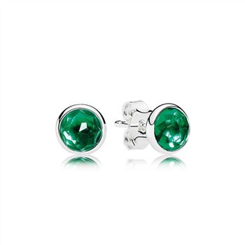 Pandora May Droplets Stud Earrings, Royal-Green Crystal 290738NRG