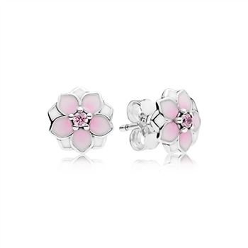 Pandora Magnolia Bloom Stud Earrings, Pale Cerise Enamel & Pink CZ 290739PCZ
