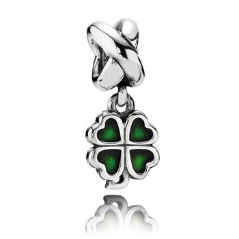 Pandora Four-Leaf Clover Dangle Charm, Green Enamel 790572EN25