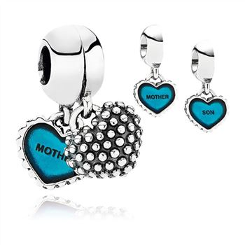 Pandora Piece Of My Heart, Son, Two-Part Dangle Charm, Turquoise Enamel 791152EN08