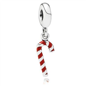 Pandora Candy Cane Dangle Charm, Red Enamel 791193EN09