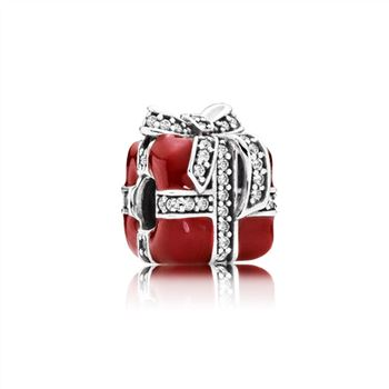 Pandora Gift silver charm with clear cubic zirconia and red enamel 791772CZ