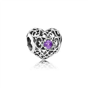 Pandora February Signature Heart Charm, Synthetic Amethyst 791784SAM