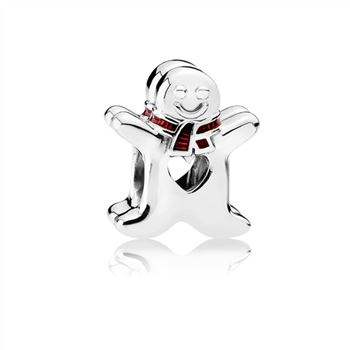 Pandora Sweet Gingerbread Man Charm, Translucent Red Enamel 792002EN07