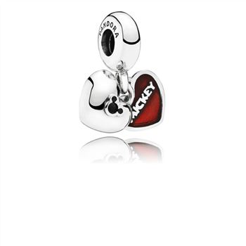 Pandora Disney, Mickey & Minnie Dangle Charm, Red Enamel 791441NCK
