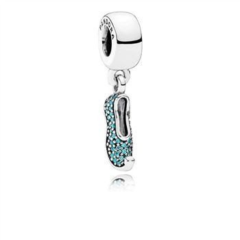 Pandora Disney, Jasmine's Sparkling Slipper Dangle Charm, Teal CZ 791790MCZ