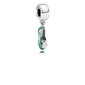 Pandora Disney, Tinker Bell's Shoe Dangle Charm, White Cultured Pearl & Glittering Green Enamel 792139EN93