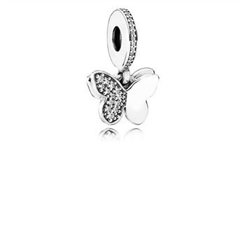 Pandora Fluttering Butterflies Dangle Charm, Clear CZ 791844CZ