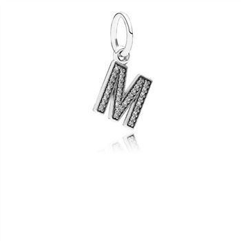 Pandora Letter M Dangle Charm, Clear CZ 791325CZ
