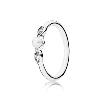 Pandora Petite Luminous Leaves Ring, White Pearl & Clear CZ 190964P