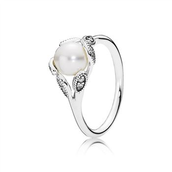 Pandora Luminous Leaves Ring, White Pearl & Clear CZ 190967P