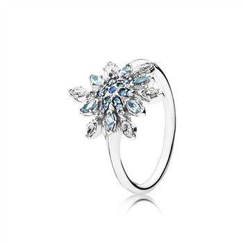 Pandora Crystalized Snowflake Ring, Blue Crystals & Clear CZ 190969NBLMX