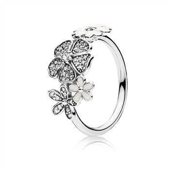 Pandora Shimmering Bouquet Ring, White Enamel & Clear CZ 190984CZ
