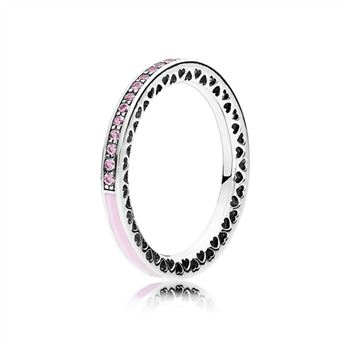 Pandora Radiant Hearts of PANDORA Ring, Light Pink Enamel & Clear CZ 191011PCZ