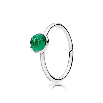 Pandora May Droplet Ring, Royal-Green Crystal 191012NRG