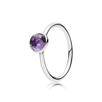 Pandora February Droplet Ring, Synthetic Amethyst 191012SAM