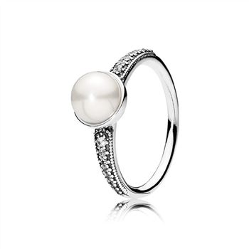 Pandora Elegant Beauty Ring, White Pearl & Clear CZ 191018P