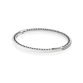 Pandora Radiant Hearts of PANDORA Bangle Bracelet, Silver Enamel & Clear CZ 590537EN23