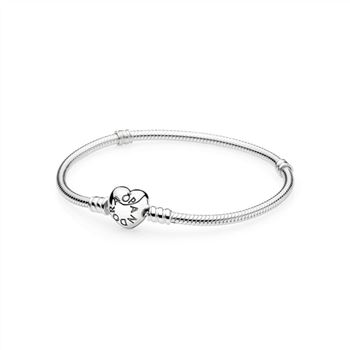 Pandora Silver Charm Bracelet with Heart Clasp 590719