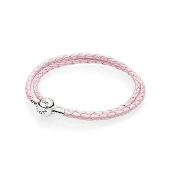 Pandora Pink Braided Double-Leather Charm Bracelet 590705CMP-D
