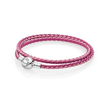 Pandora Mixed Pink Woven Double-Leather Charm Bracelet 590747CPMX-D