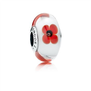Pandora Red and White Flowers Murano Charm 791636