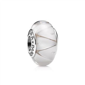 Pandora White Looking Glass Charm, Murano Glass 790921