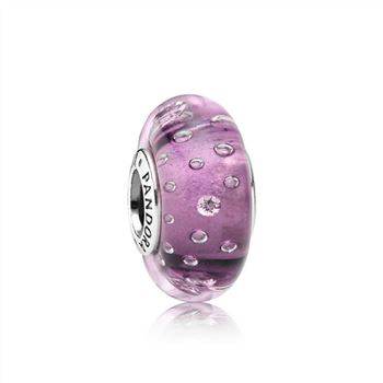 Pandora Purple Effervescence Charm, Murano Glass & Clear CZ 791616CZ