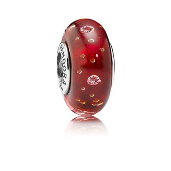 Pandora Red Effervescence Charm, Murano Glass & Clear CZ 791631CZ