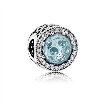 Pandora Radiant Hearts Charm, Glacier-Blue Crystals & Clear CZ 791725NGL
