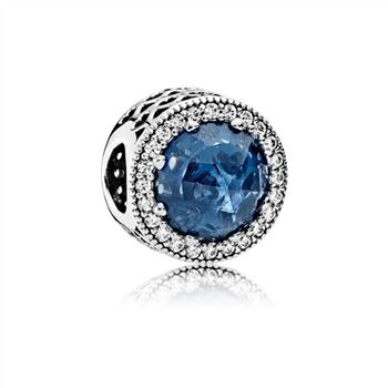 Pandora Radiant Hearts Charm, Moonlight Blue Crystal & Clear CZ 791725NMB