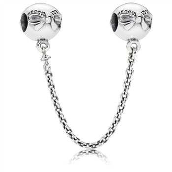 Pandora Bow silver safety chain with clear cubic zirconia 791780CZ