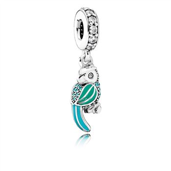 Pandora Tropical Parrot Dangle Charm, Mixed Enamels, Teal & Clear CZ 791903ENMX