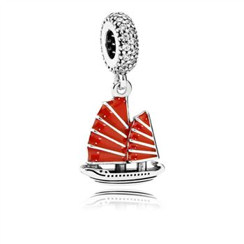 Pandora Chinese Junk Ship Dangle Charm, Red Enamel & Clear CZ 791908EN09