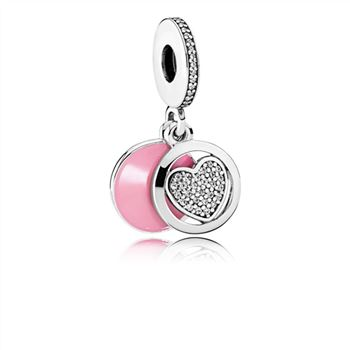 Pandora Devoted Heart Dangle Charm, Pink Enamel & Clear CZ 792149EN24