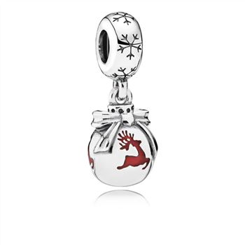 Pandora CHRISTMAS ORNAMENT SILVER DANGLE WITH TRANSLUCENT CLASSIC RED ENAMEL 791768EN07