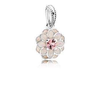 Pandora Blooming Dahlia Dangle Charm, Cream Enamel & Blush Pink Crystal 791829NBP