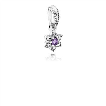 Pandora Forget Me Not Dangle Charm, Purple & Clear CZ 791833ACZ
