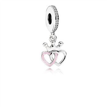 Pandora Crowned Hearts Dangle Charm, Orchid Pink Enamel & Clear CZ 791963CZ