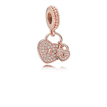 Pandora Love Locks Dangle Charm, PANDORA Rose & Clear CZ 781807CZ