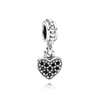 Pandora Black Pave Hanging Heart Dangle Charm 791023NCK