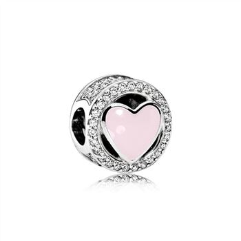 Pandora Wonderful Love, Soft Pink Enamel & Clear CZ 792034CZ